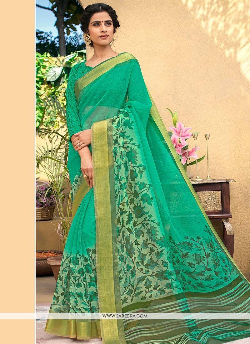 Print Chanderi Printed Saree in Sea Green