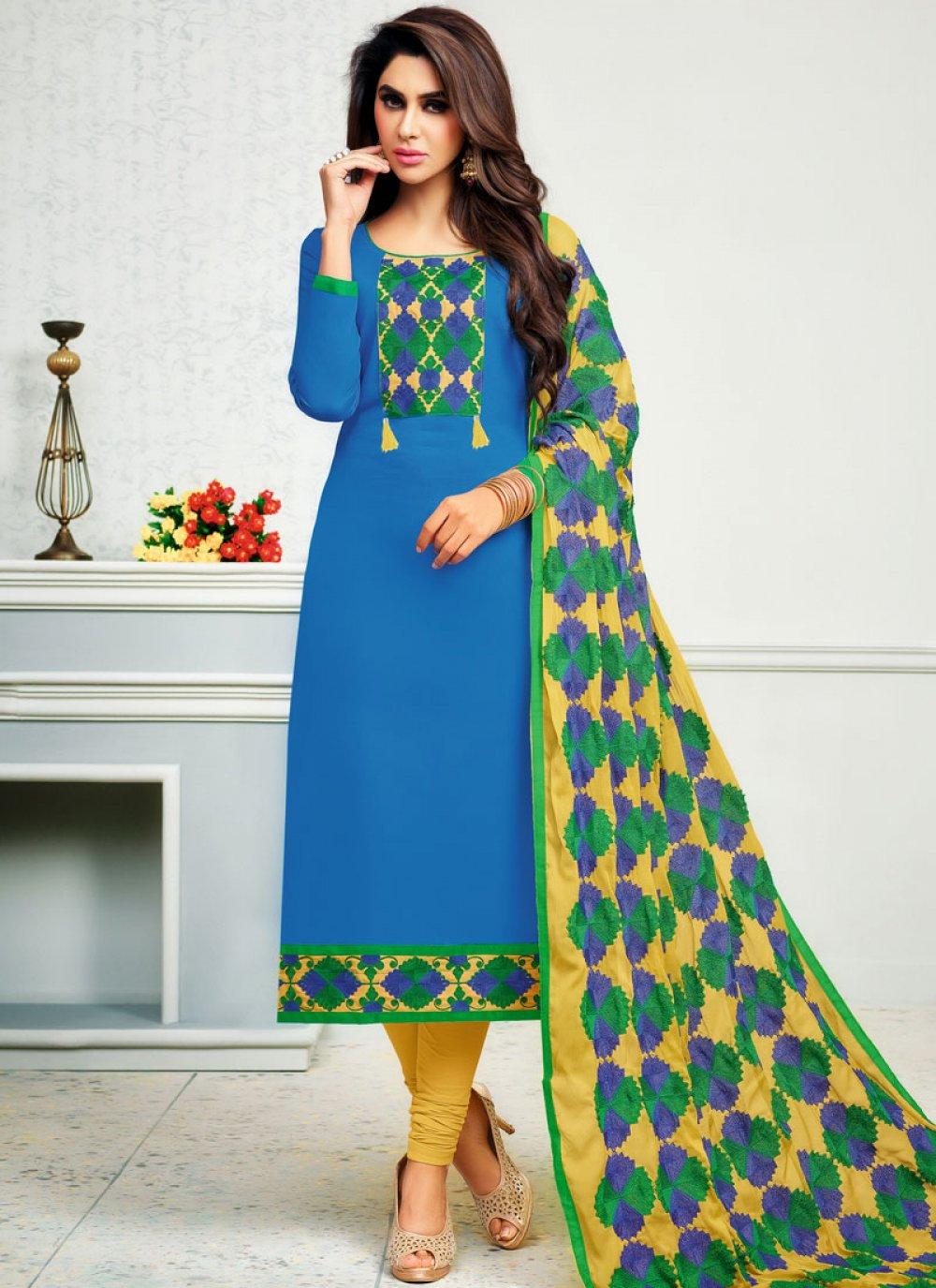 Print Cotton   Blue Churidar Suit