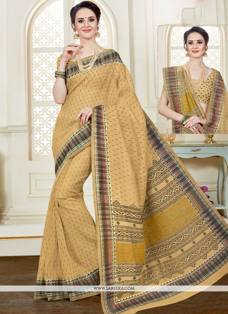 Print Cotton   Casual Saree in Beige