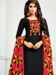 Print Cotton   Churidar Suit in Black