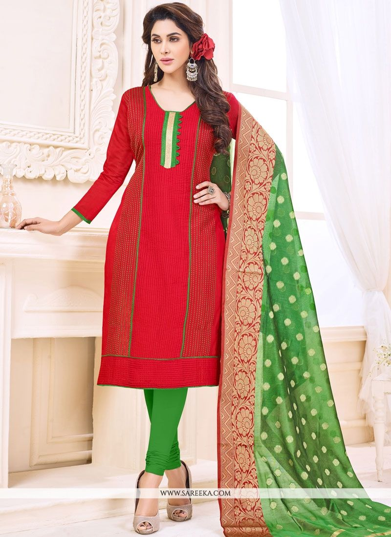 Print Cotton   Churidar Suit in Red