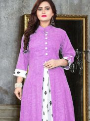 Print Cotton   Party Wear Kurti in Lavender