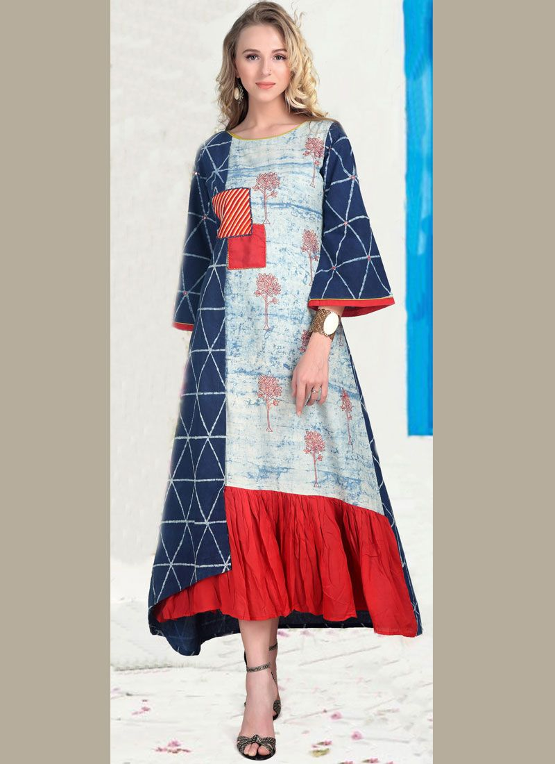 Print Cotton   Party Wear Kurti in Multi Colour