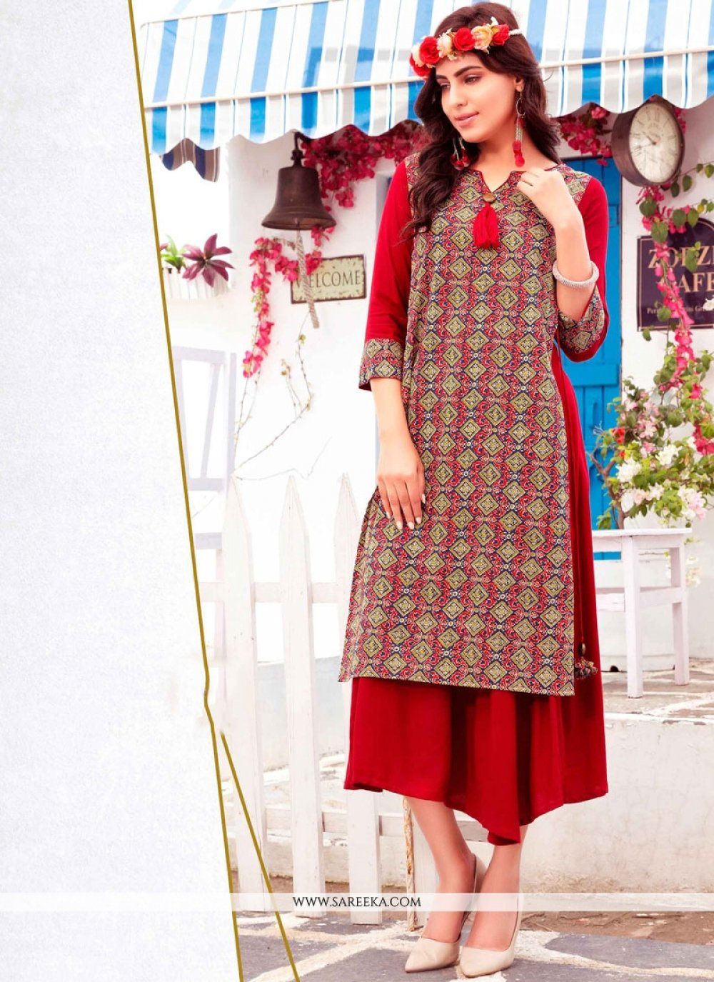 Print Cotton   Party Wear Kurti in Red