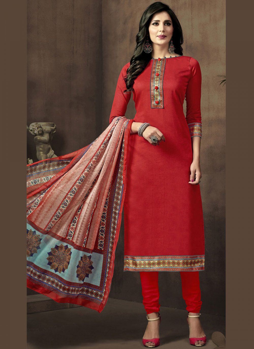 Print Cotton Satin Churidar Suit in Red