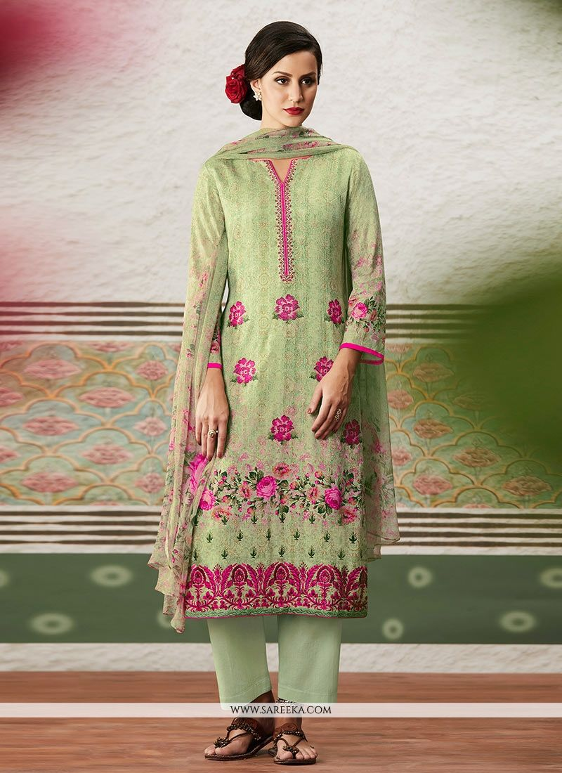 Print Cotton Satin Pant Style Suit in Green