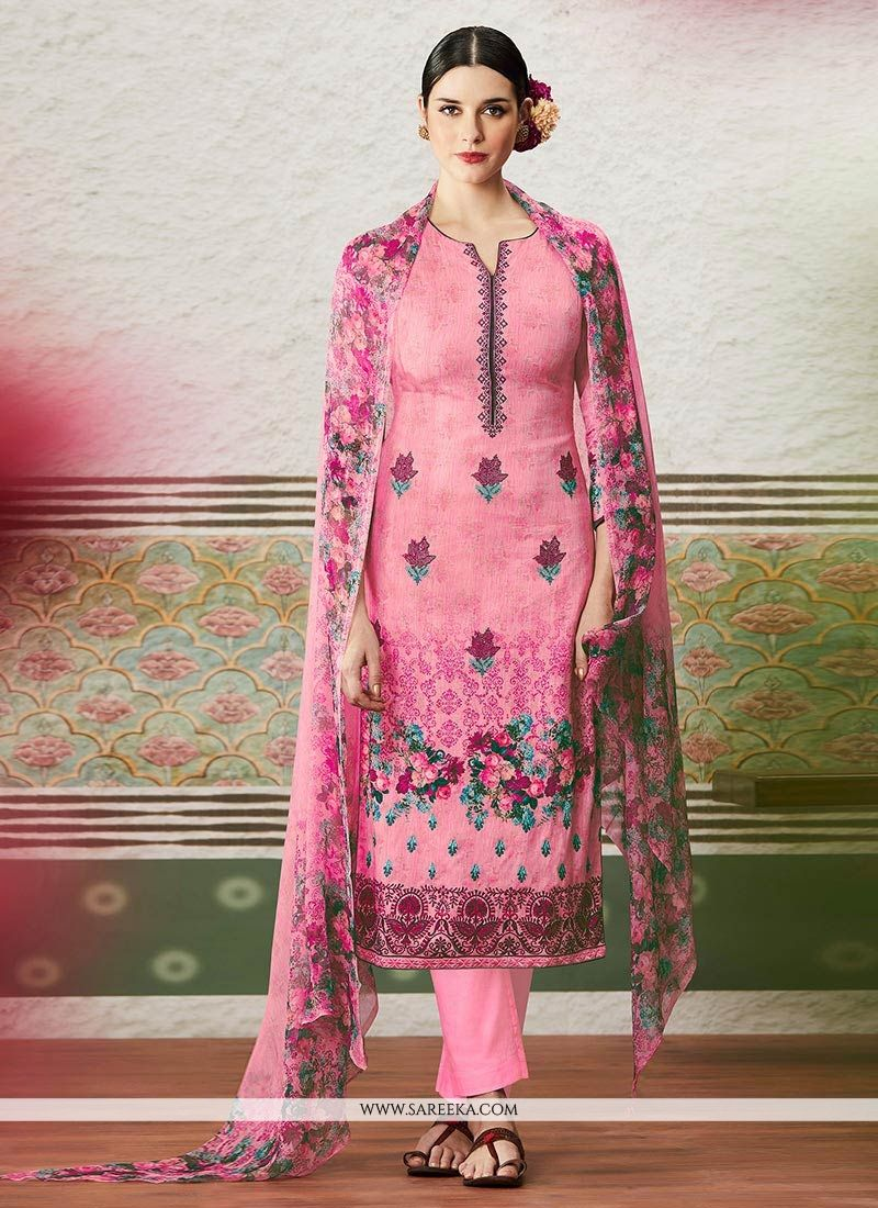 Print Cotton Satin Pant Style Suit in Pink