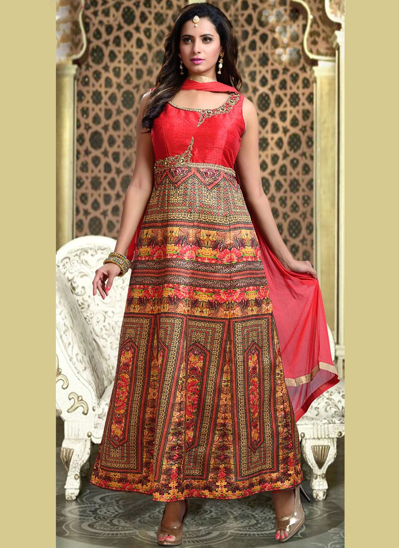 Print Fancy Fabric Readymade Suit in Pink