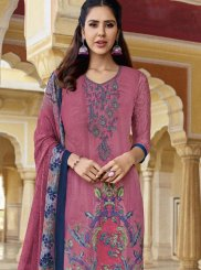 Print Faux Crepe Designer Pakistani Suit in Multi Colour