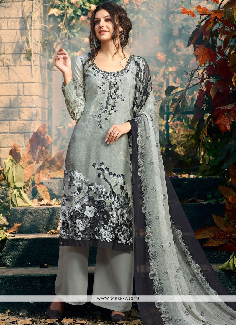 Print Faux Crepe Palazzo Suit in Multi Colour