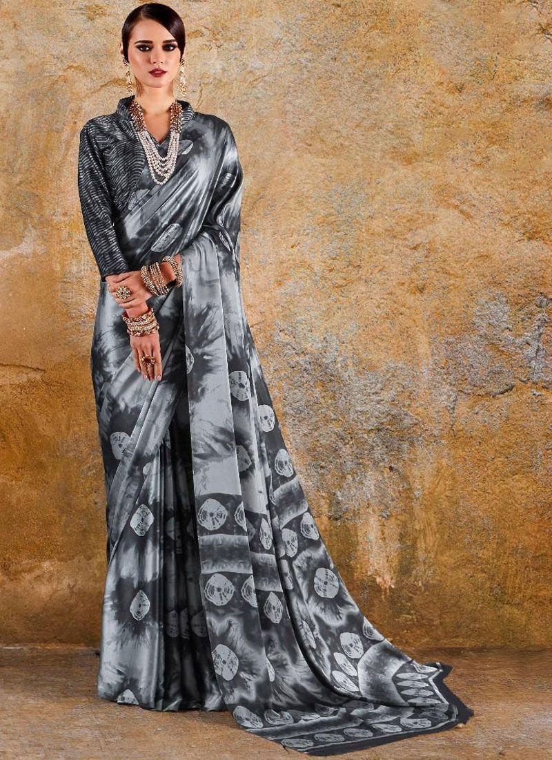 Print Faux Crepe Printed Saree in Multi Colour