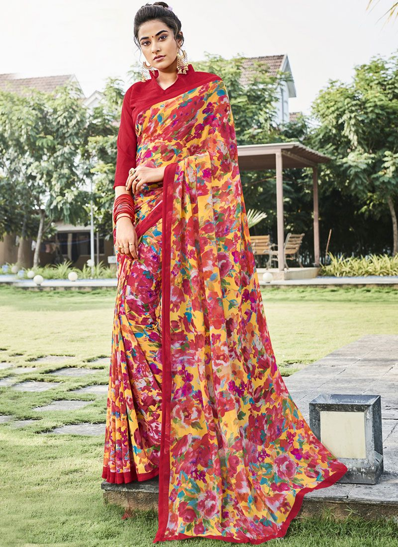 df9560e012c Buy Print Faux Georgette Multi Colour Printed Saree   92041 -