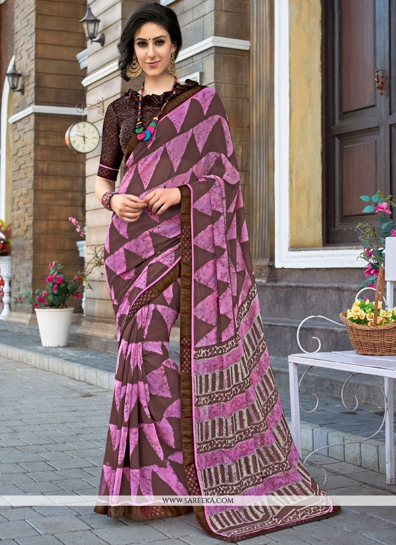 Print Faux Georgette Printed Saree in Multi Colour