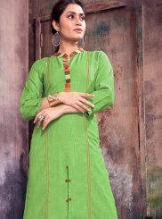 Print Green Cotton   Party Wear Kurti
