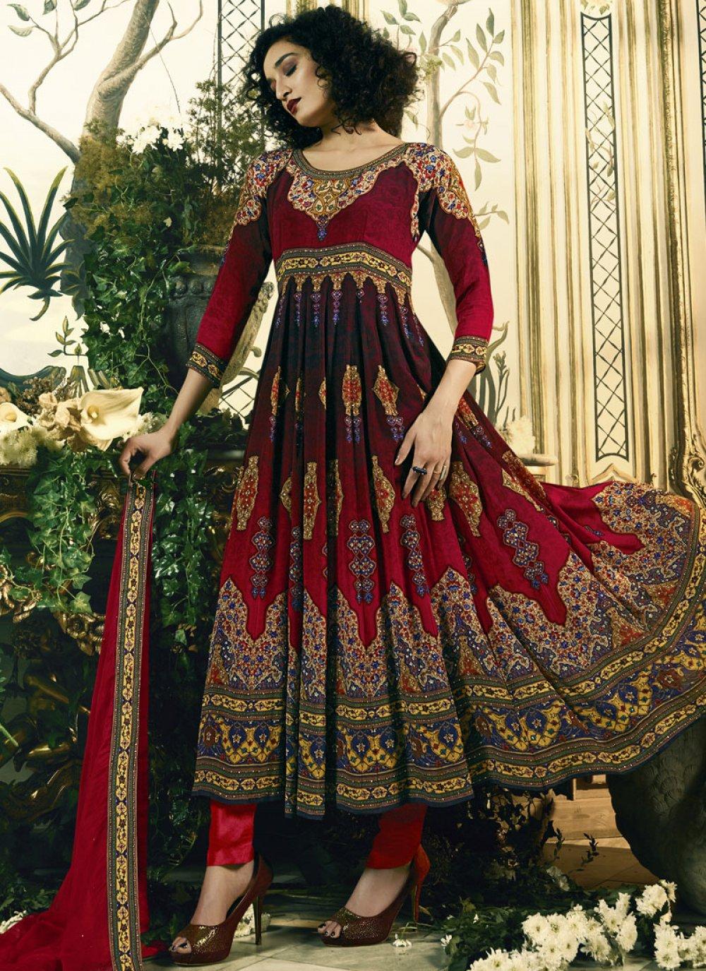 Print Multi Colour Anarkali Salwar Suit