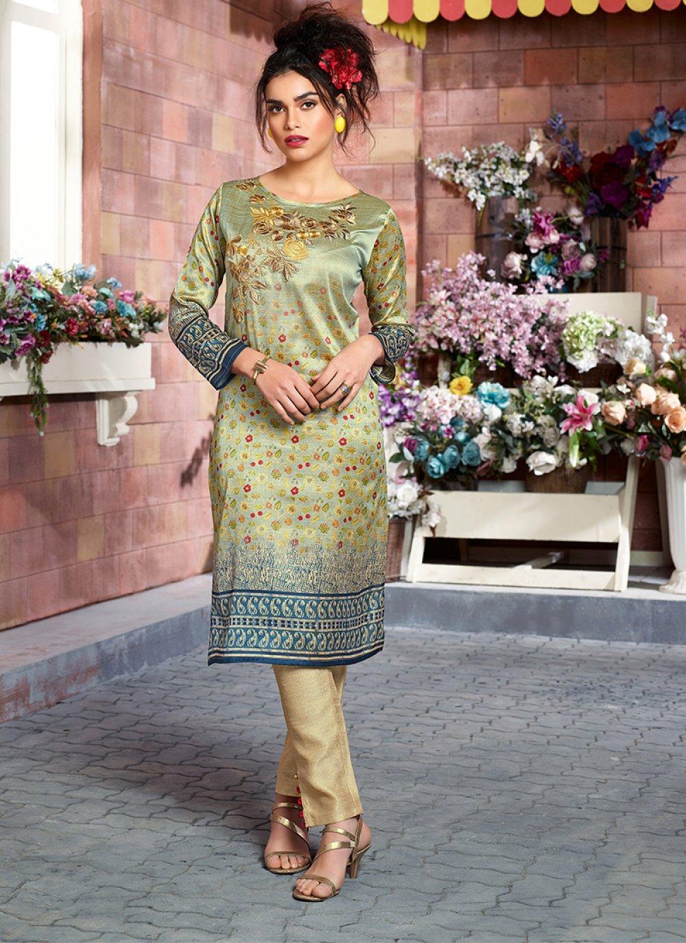 Print Multi Colour Art Silk Party Wear Kurti