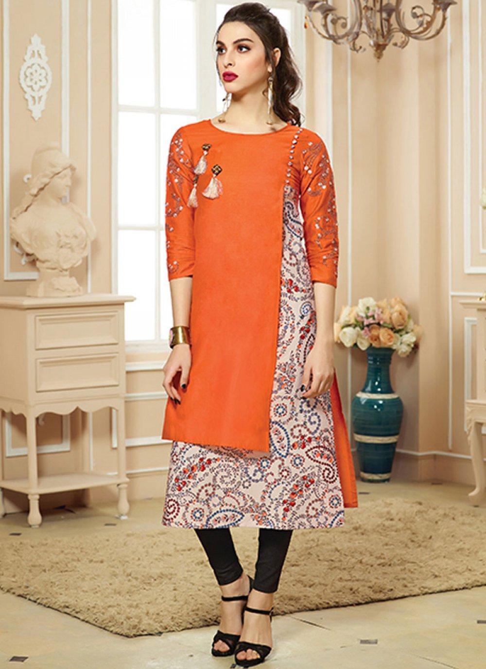 Print Orange Party Wear Kurti