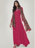 Print Rayon Party Wear Kurti in Hot Pink