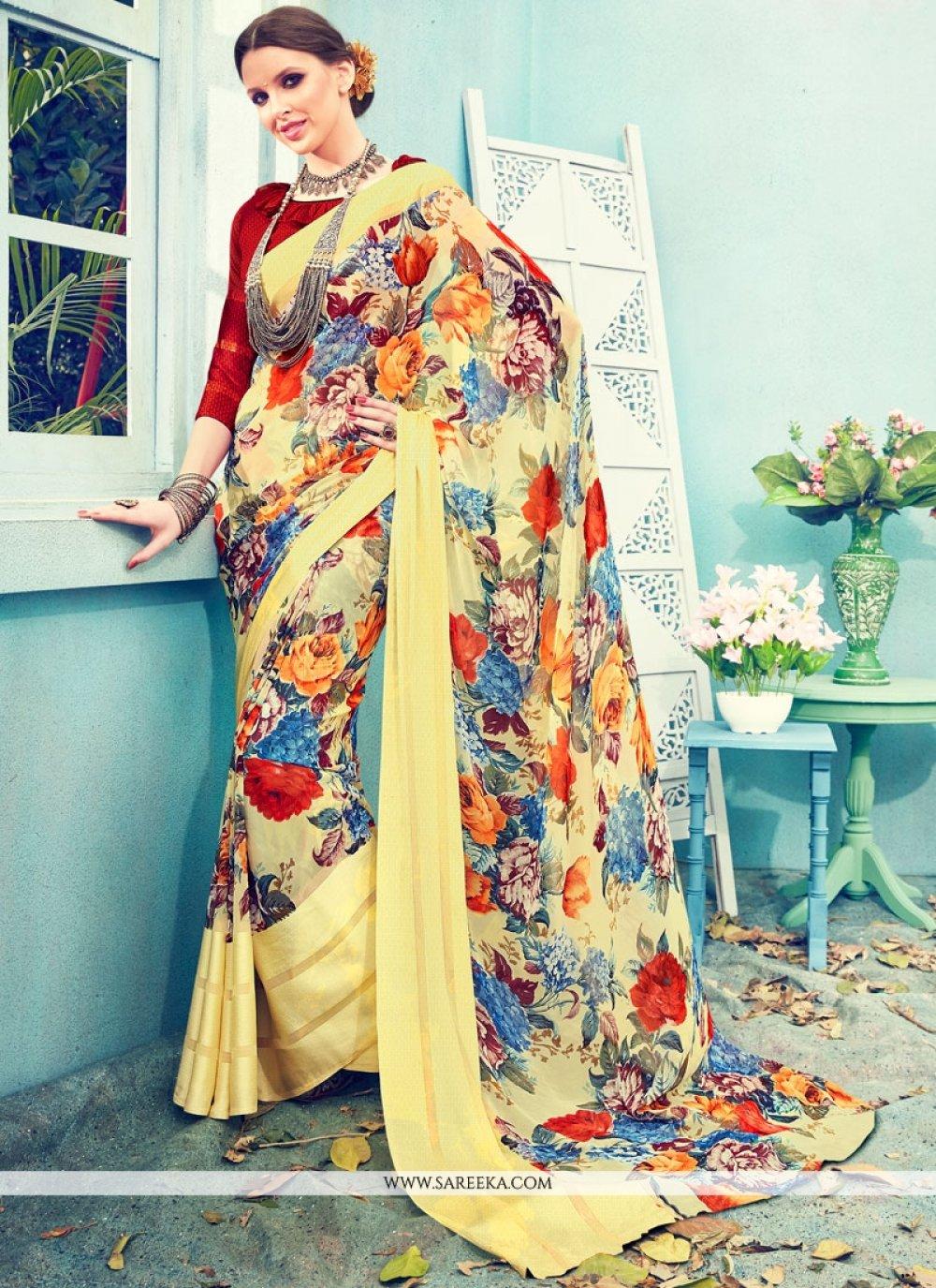 Print Satin Printed Saree in Multi Colour