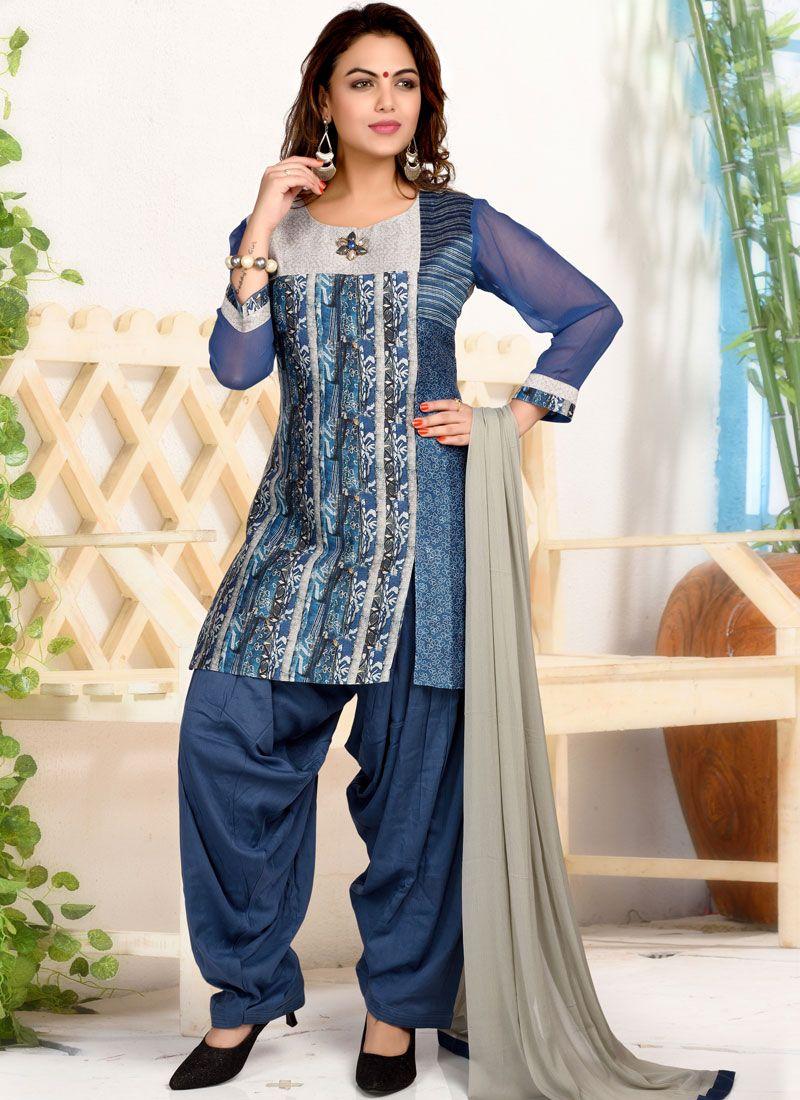 Print Silk Trendy Patiala Suit