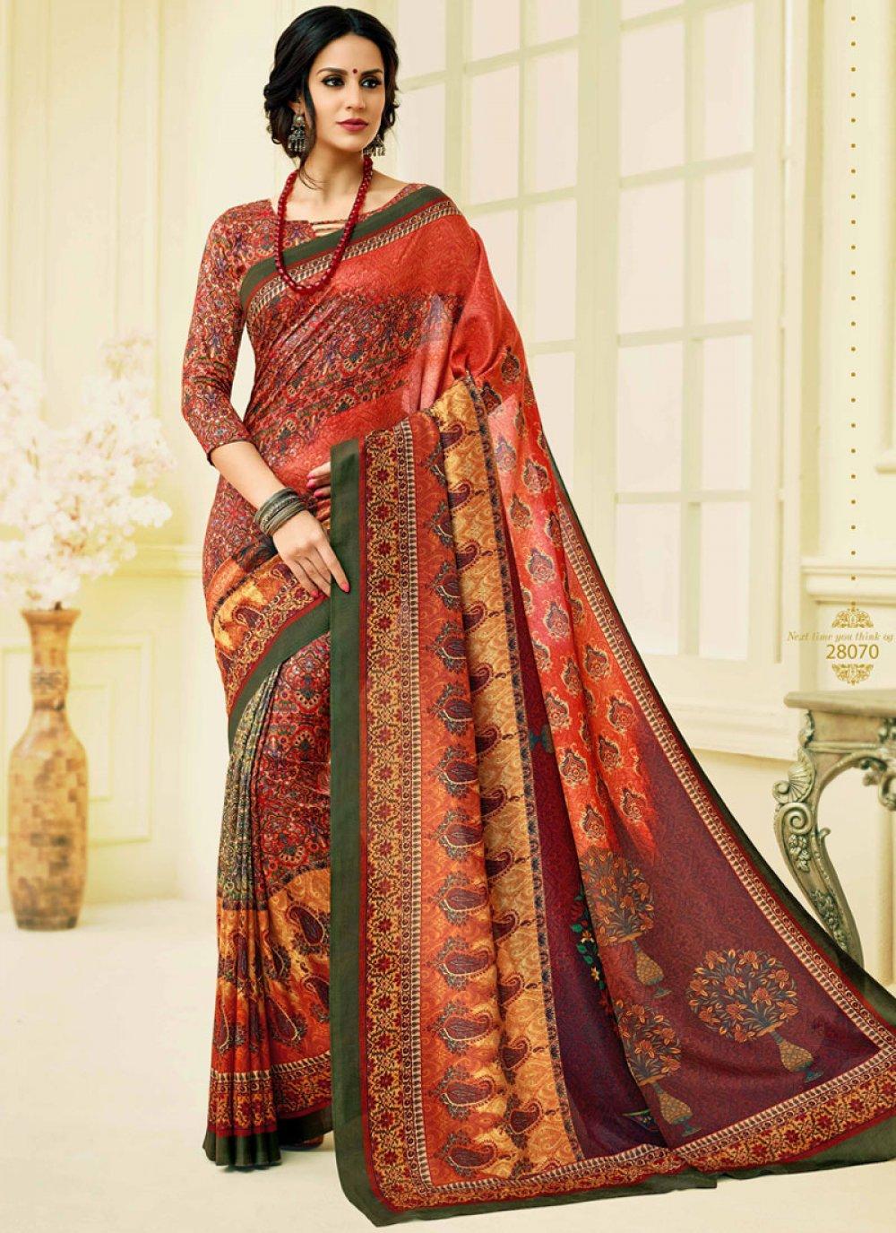 Print Tussar Silk Printed Saree in Multi Colour