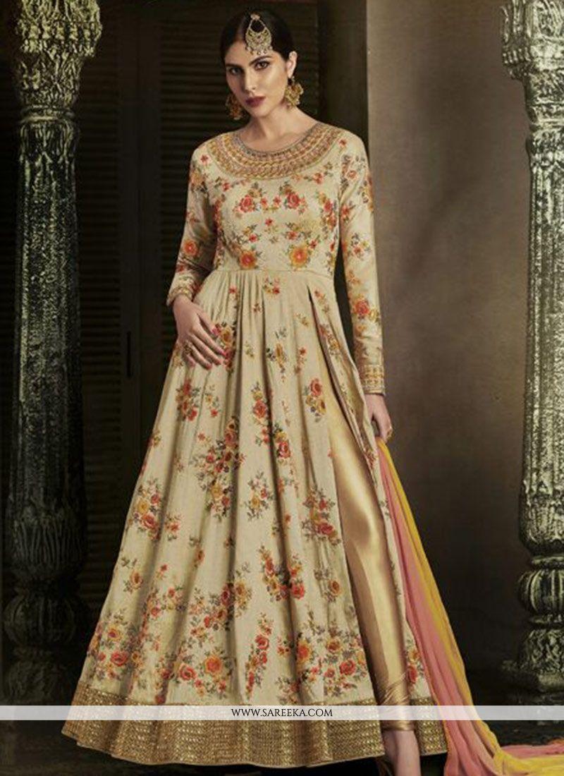 Print Work Art Silk Floor Length Anarkali Suit