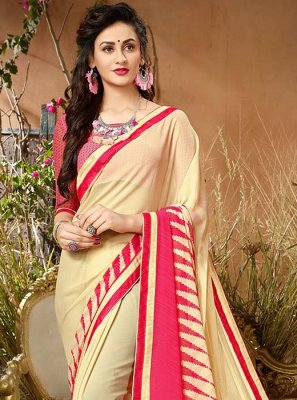 Print Work Beige Casual Saree