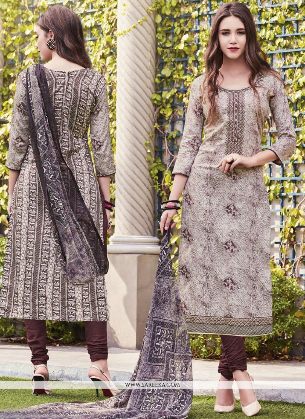Print Work Beige Cotton Satin Churidar Suit