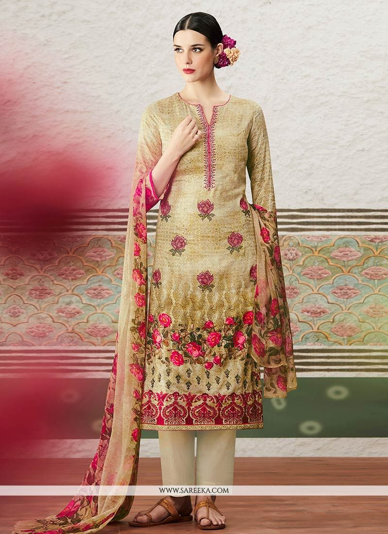 Print Work Beige Cotton Satin Pant Style Suit