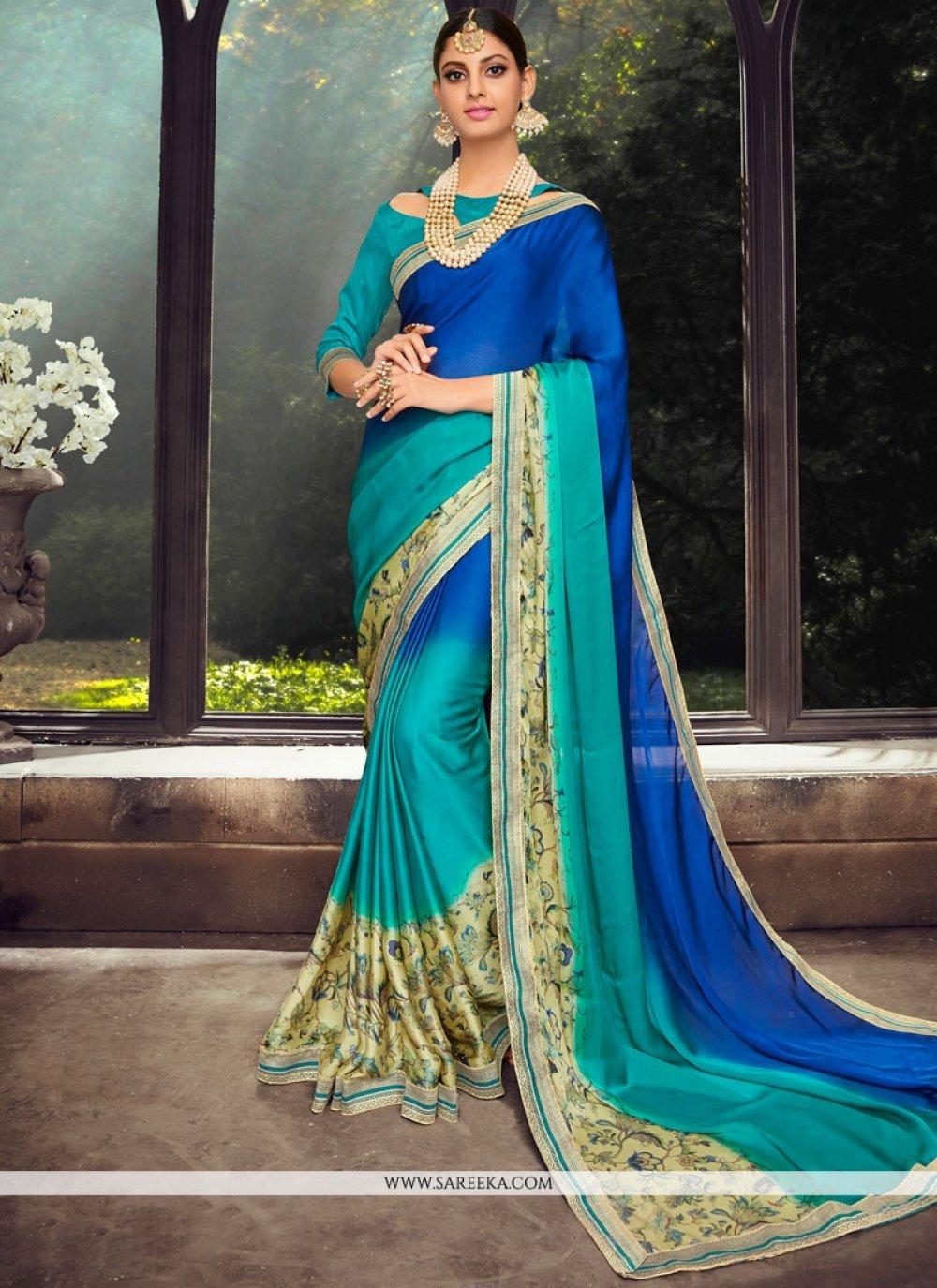 Print Work Blue and Sea Green Art Silk Shaded Saree