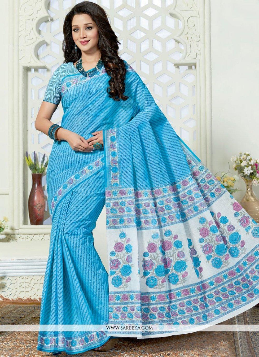 Print Work Blue Casual Saree