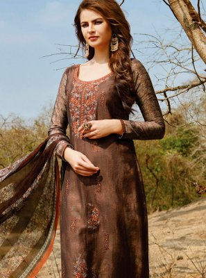 Print Work Brown Pant Style Suit