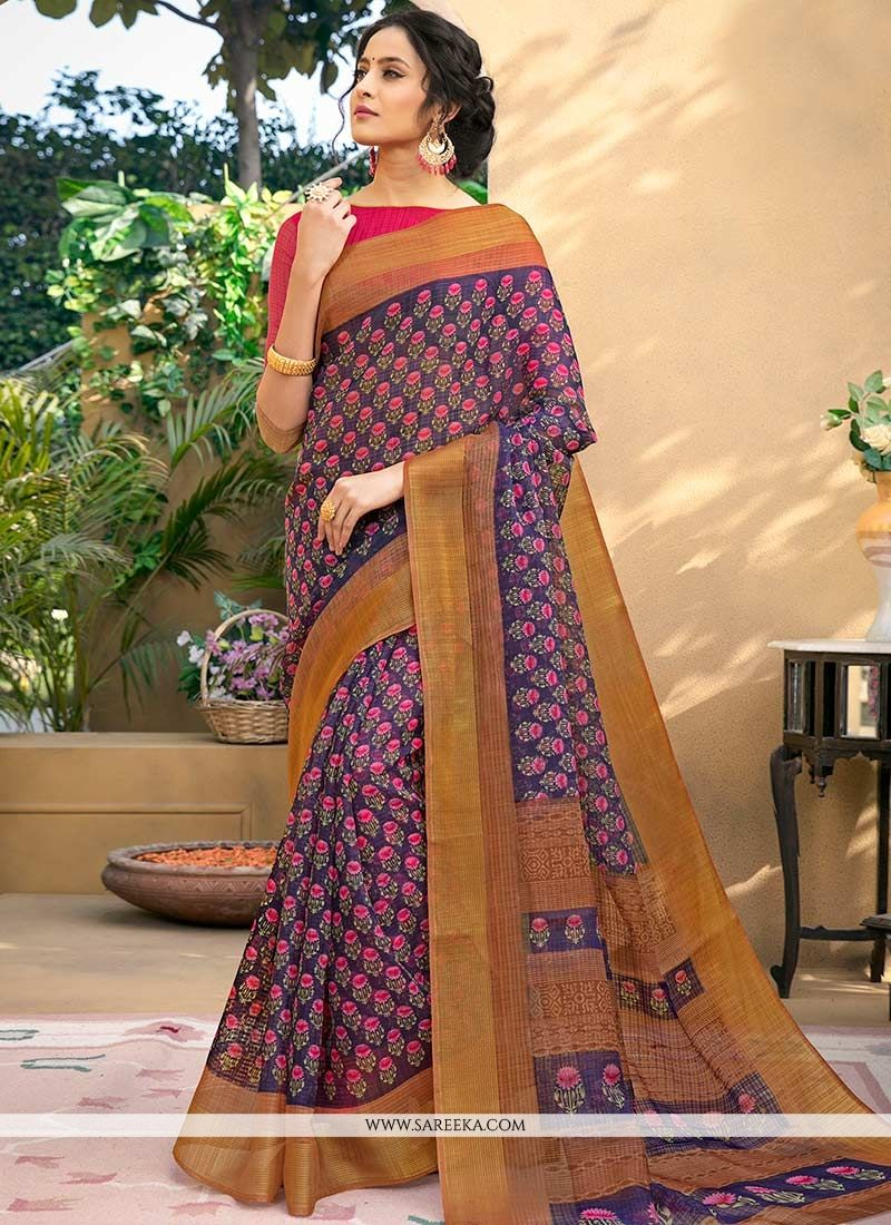 Print Work Chanderi Printed Saree