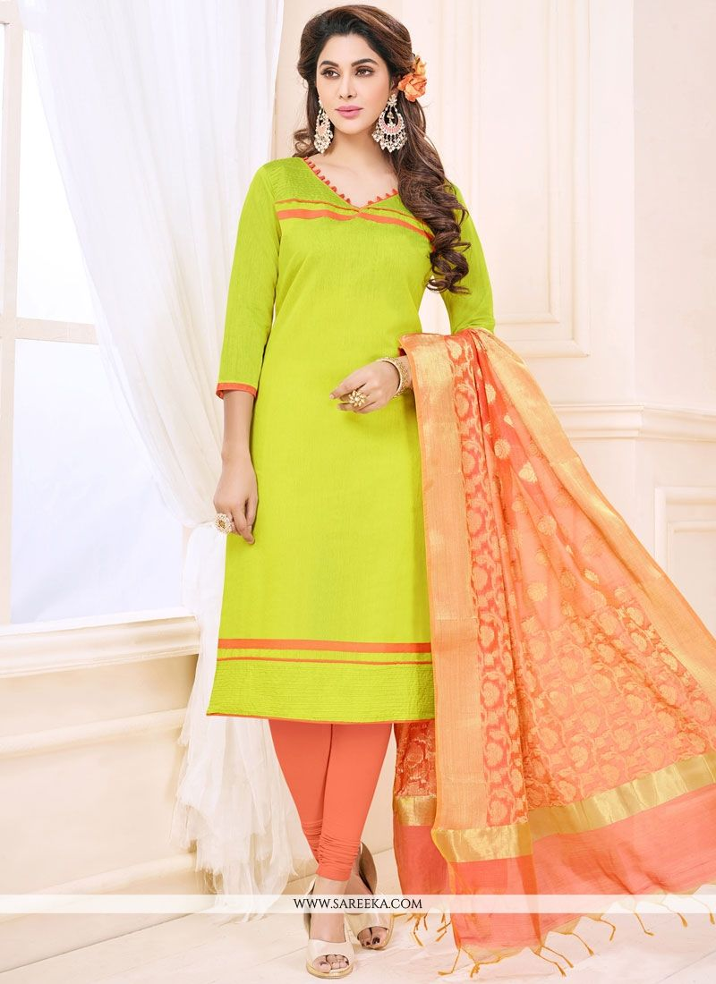 Print Work Cotton   Green Churidar Suit