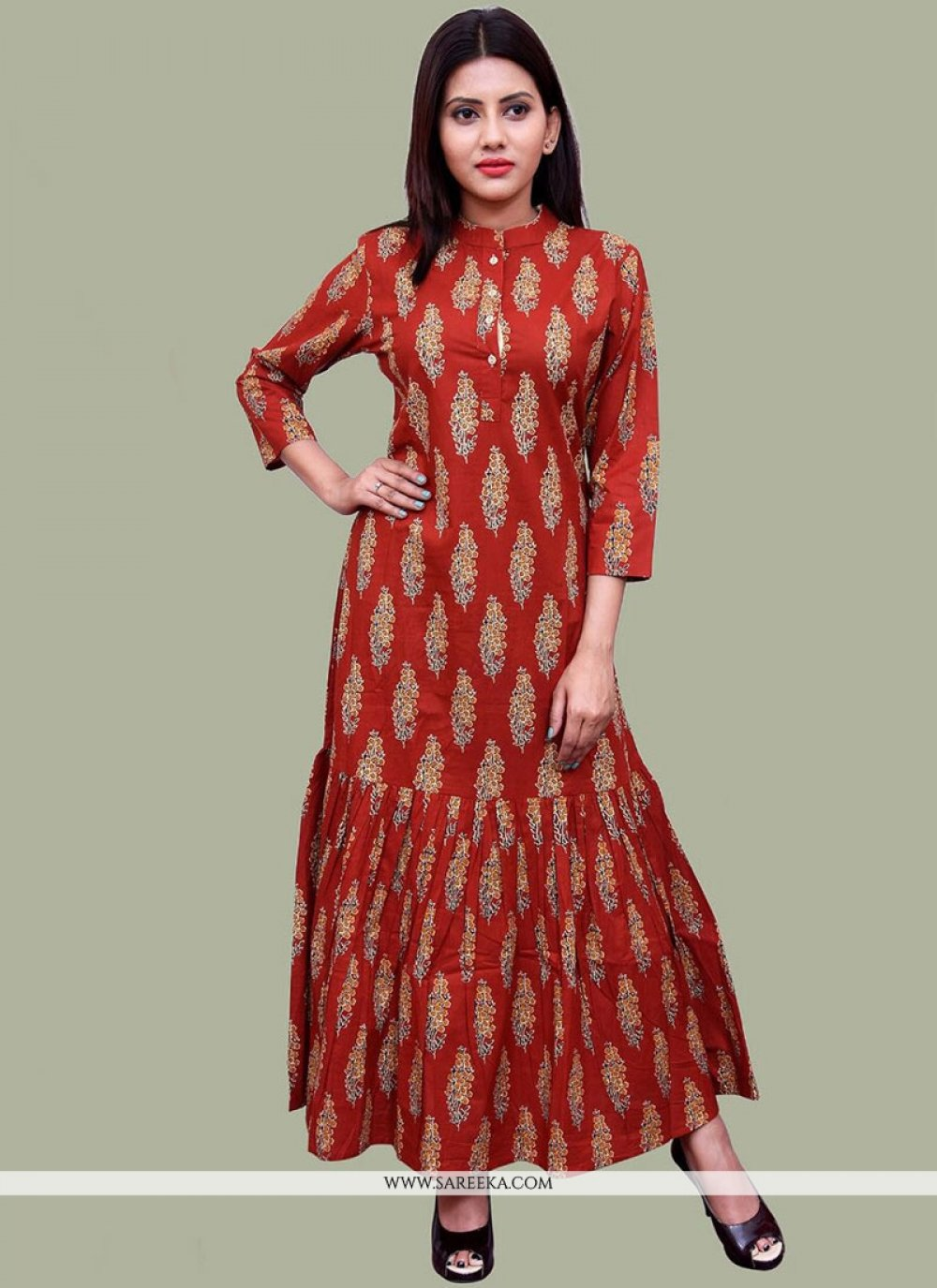 Print Work Cotton   Maroon Party Wear Kurti