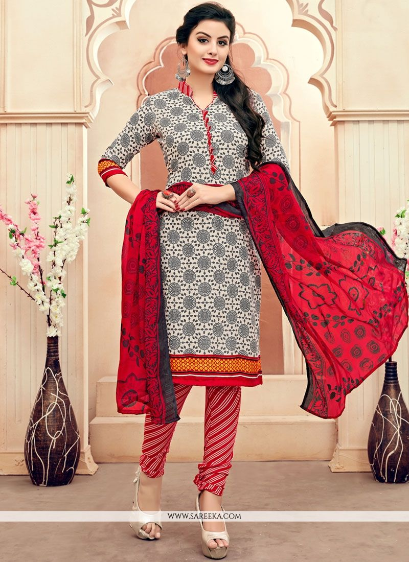 Print Work Cotton   Multi Colour Churidar Suit