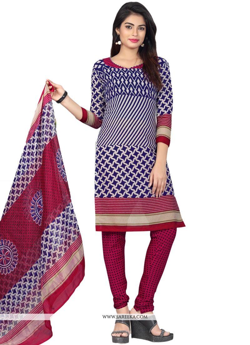 Print Work Cotton   Multi Colour Churidar Suit