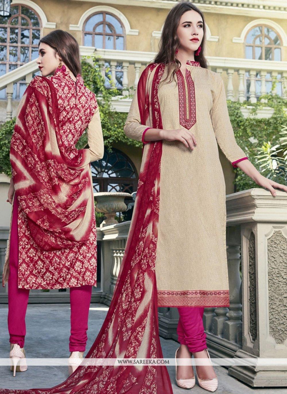 Print Work Cotton Satin Beige Churidar Suit