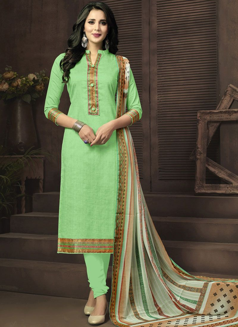 Print Work Cotton Satin Churidar Suit