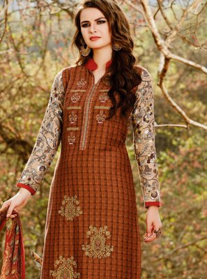 Print Work Cotton Satin Rust Pant Style Suit