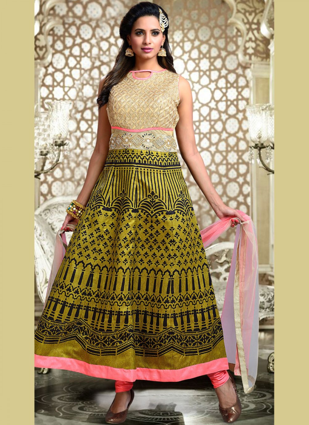 Print Work Fancy Fabric Readymade Suit