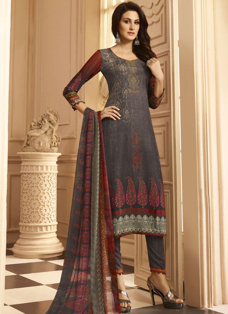 Print Work Faux Crepe Multi Colour Designer Suit