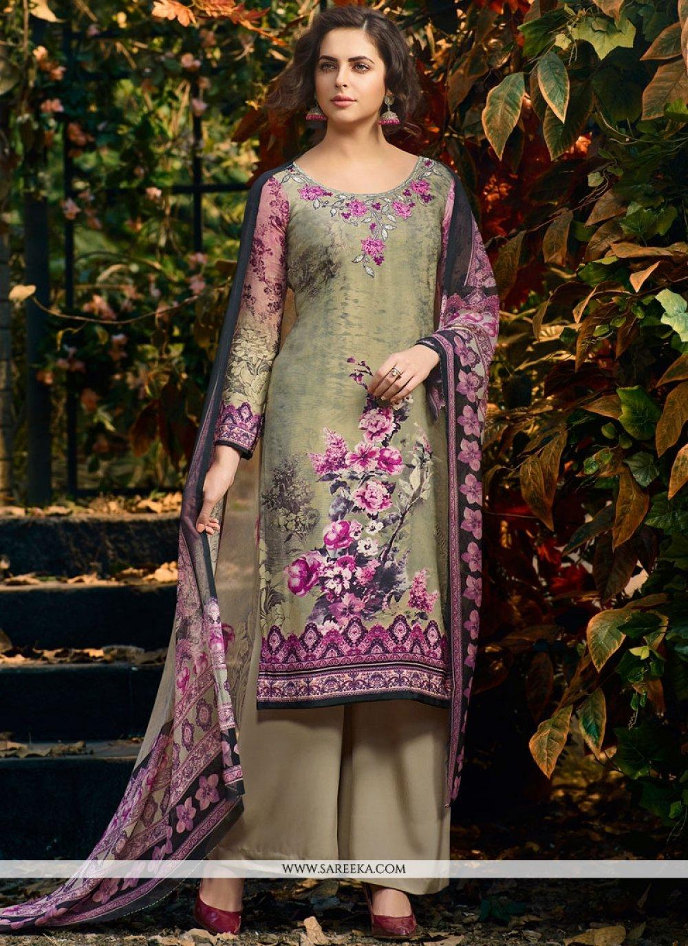 Print Work Faux Crepe Multi Colour Palazzo Suit