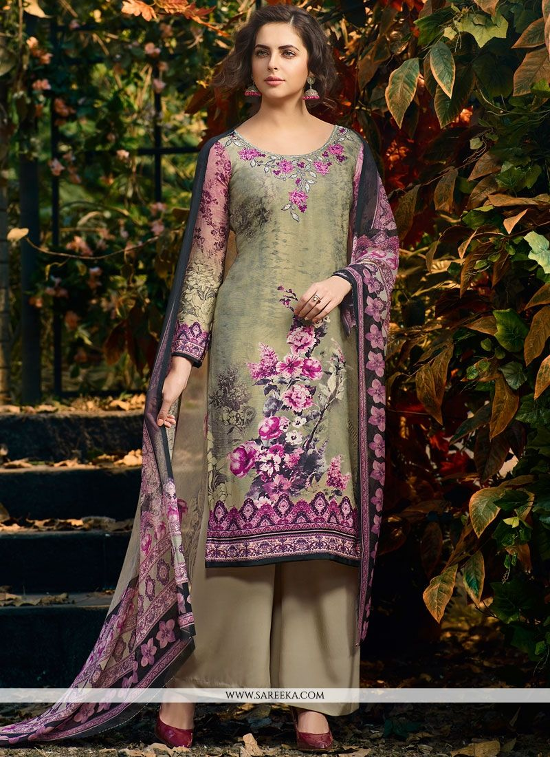 Print Work Faux Crepe Multi Colour Palazzo Suit