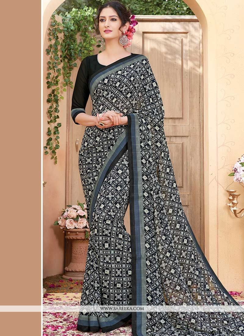 Print Work Faux Georgette Printed Saree