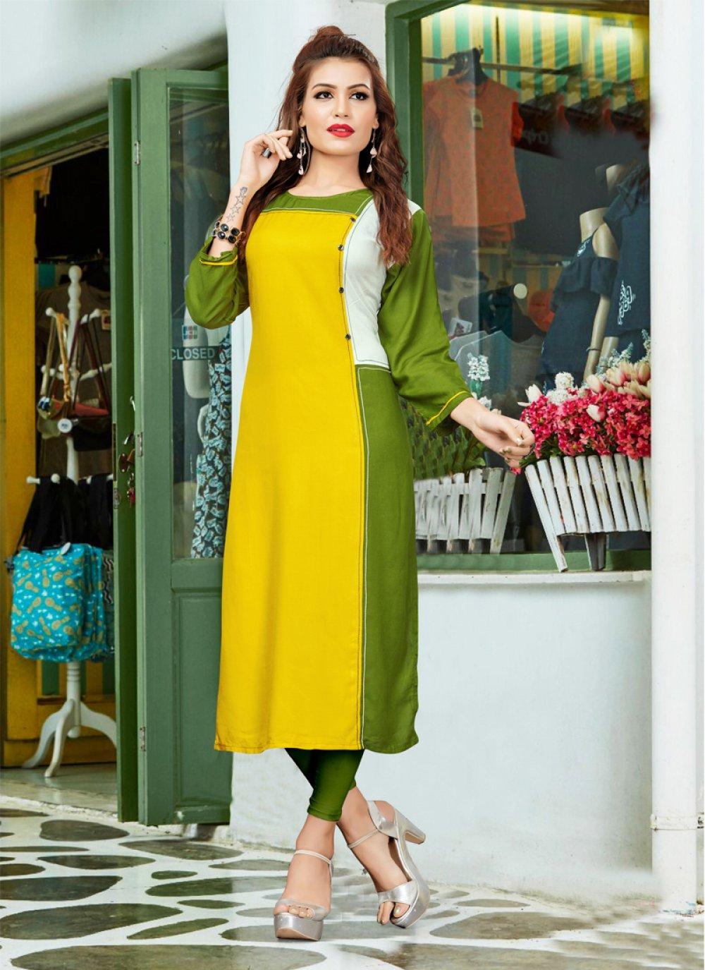 Print Work Green and Yellow Rayon Casual Kurti