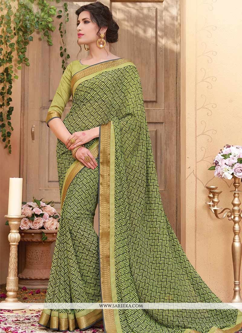 Print Work Green Printed Saree