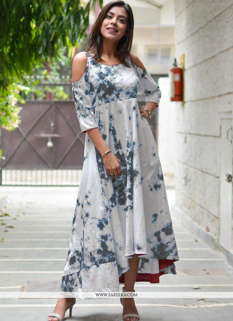 Print Work Grey and White Party Wear Kurti