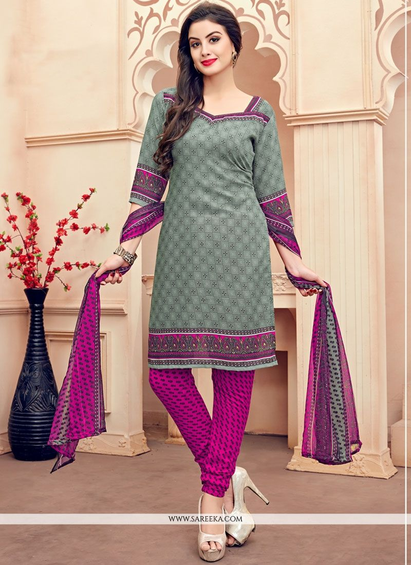 Print Work Grey Churidar Suit