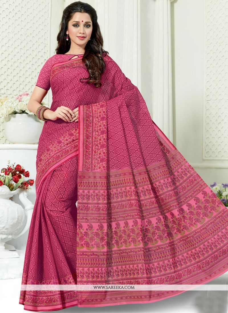 Print Work Hot Pink Casual Saree